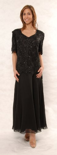 Great Fitting Chiffon Tea Length Dress Black or Navy (2X)