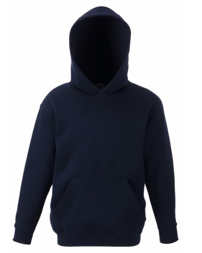 Fruit Of The Loom Boy's SS026B Long Sleeve Hoodie, Blue (Navy Blue), Large (Manufacturer Size:32)