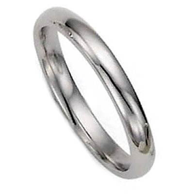 3.0 Millimeters White Gold Heavy Wedding Band Ring 14Kt Gold, Plain Comfort Fit Style PIR03, Finger Size 9½