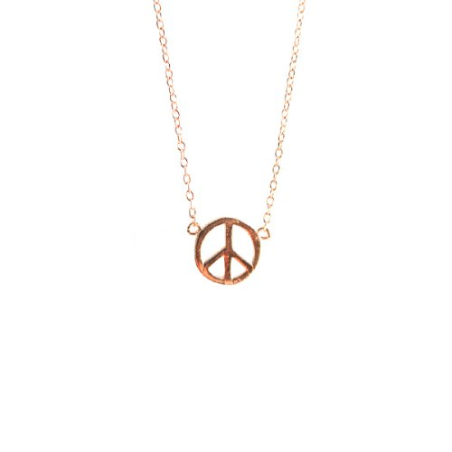 apop nyc 14k Rose Gold Vermeil Mini Peace Sign Necklace 16