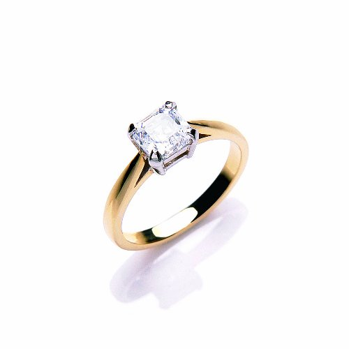 9ct Yellow Gold Swarovski Enlightened C.Z. Mosaic Solitaire Ring - Size P