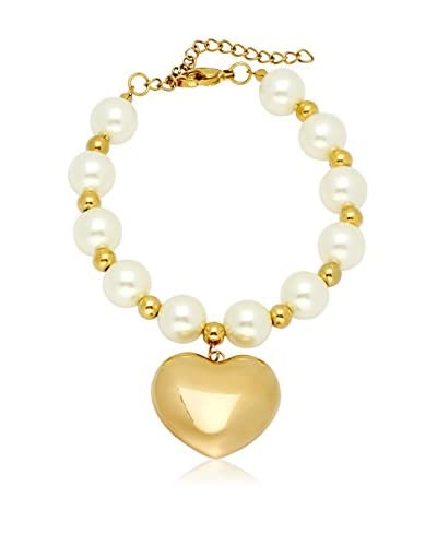 Piatella Simulated Pearl & 18K Gold-Plated Stainless Steel Heart Charm Bracelet