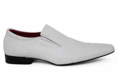 mens slip on fashion white dress formal shoes