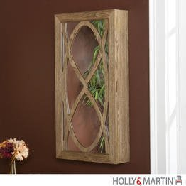 "Gianni Wall Mount Jewelry Mirror (Weathered Oak) (32.25""H x 17""W x 4.75""D)"