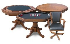 Antique Dark Oak 3-in-1 Poker Table w/4 chairs