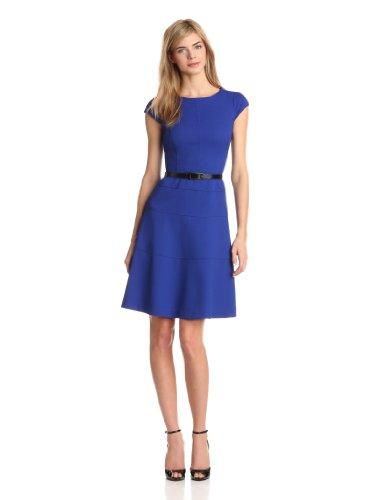 Anne Klein Women's Cap Sleeve Scoopneck Solid Dress,Klein Blue,10