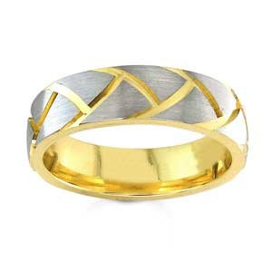 Women's 14k Two Toned Gold Textured Wedding Band (6.00 mm)