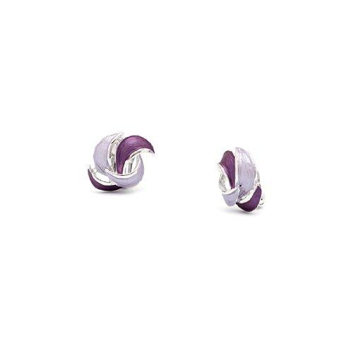 Rodney Holman Purple Enamel Rhodium Petal Clip On Earrings
