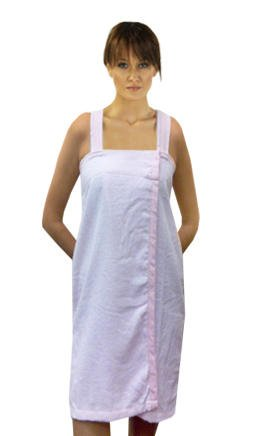 Solid Cotton Terry Loop Shower Wrap With Gingham Trim, Pink, One Size front-28278