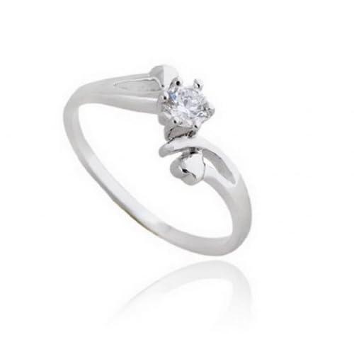C-Princessリング 指輪 18K金メッキ コーティング ラインストーン レディース 女性 アクセサリー エンゲージリング 輝か ハートのデザイン 愛の証 (12, ホワイトゴールド)