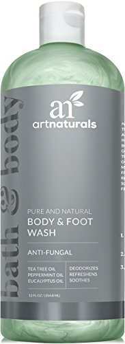 Art Naturals Body Wash w/ Tea Tree, Peppermint & Eucalyptus Oil - Natural Eczema Bath Soap for Antifungal Foot and Body Helps Kill Nail Fungus, Athletes Feet, Ringworm, Jock Itch & Odors - 12oz