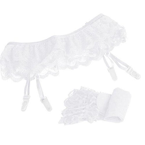 Kingfansion Womens Lace Top Thigh-Highs Stockings Socks + Suspender Garter Belt (White) (Plus Size Fishnet Stocking With Lace Top)
