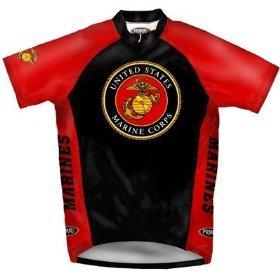 Image of Primal Wear Men's US Marines Emblem Military Short Sleeve Cycling Jersey - USM8J20M (B000WUZIGO)