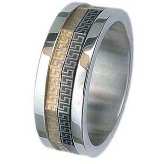 8MM High Polished Stainless Steel Ring With Gold & Black Plated Spinner with Greek Design in Center