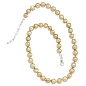 Gold Pearl Knotted Necklace Adjustable Length Sterling Silver