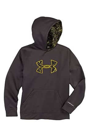 Under Armour Boys' Armour® Fleece Storm Big Logo Pullover Hoodie (X-Large, Charcoal)