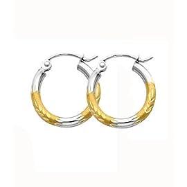 14K Gold 2-Tone Dia-Cut  2mm Hoop Earrings 15mm or 0.60