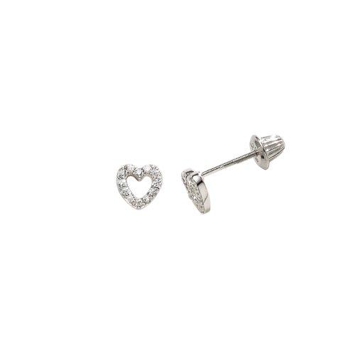 Children's Sterling Silver Open Heart with Cubic Zirconia Earrings