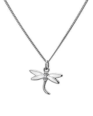 Lily & Lotty Silver and Diamond Dragonfly Pendant on Chain of 40-45cm