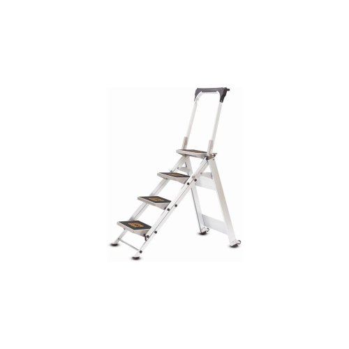 Four Step Folding Ladder W/ Handrails & Casters