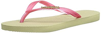 Havaianas Womens' Slim Logo Metallic Flip Flops Sand Grey/Pink 3/4 UK (EU 37/38)