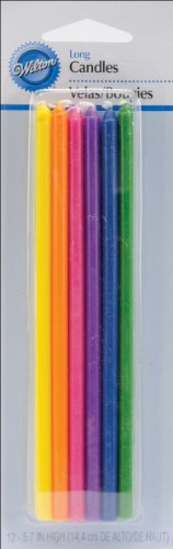 "Wilton Long Birthday Candles 5-7/8"" 12/Pkg-Multicolor - 1"