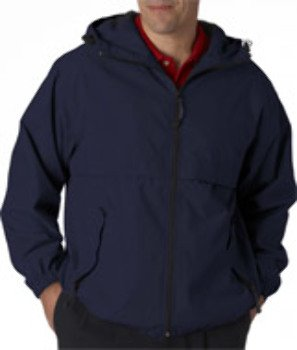 Ultraclub(R) Adult Microfiber Hooded Zip-Front Jacket - Navy (4Xl) *** Product Description: 8908 Ultraclub(R) Adult Microfiber Hooded Zip-Front Jacket : Navy (4Xl) Water Repellant, In A Longer Length To Keep You Dryer... One Of Our Best Value Jac *** front-619314