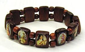 HOLY IMAGES BRACELET BIBLICAL SAINTS WOOD BEADS ELASTIC