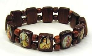 HOLY IMAGES BRACELET BIBLICAL SAINTS WOOD BEADS ELASTIC