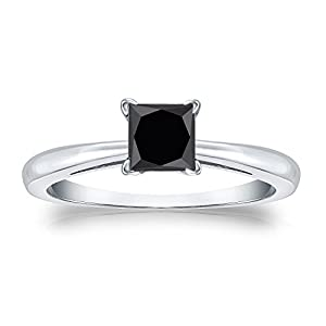 18k White Gold Princess-cut Black Diamond Solitaire Ring (1/4 cttw, Black color), Size 4