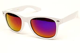 Wayfarer Retro Revo-lens Mirrored Sunglasses W100 (white-purple, mirrored)