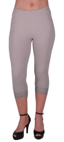EyeCatchClothing - Crop Leg Pull on Womens Leggings with Lace Detail