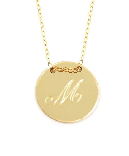 Personalized Engraved Initial Disk Necklace