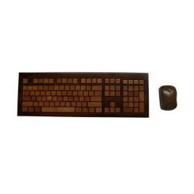 Impecca KBB603CW Wireless Hand-Carved Designer Bamboo Keyboard - Walnut Color with Mouse
