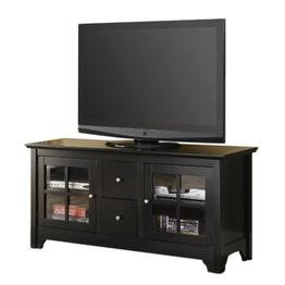 "52"" Wood TV Console with 2 Drawers - Matte Black"