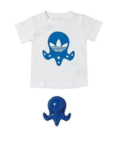 adidas Conjunto Camiseta + Muñeco Baby Minikit Blanco / Azul