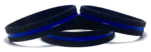 3 Pack of Thin Blue Line Rubber Wristband Silicone Bracelet to Support Law Enforcement (Adult (8