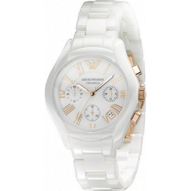 Emporio Armani Ladies AR1417 Ceramica Watch White Bracelet with White Dial and Rose Gold Roman Numerals