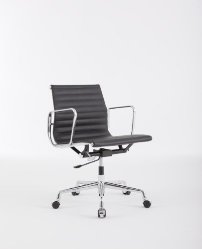Charles Eames EA 117 Low Back Ribbed Office Chair - Black Leather
