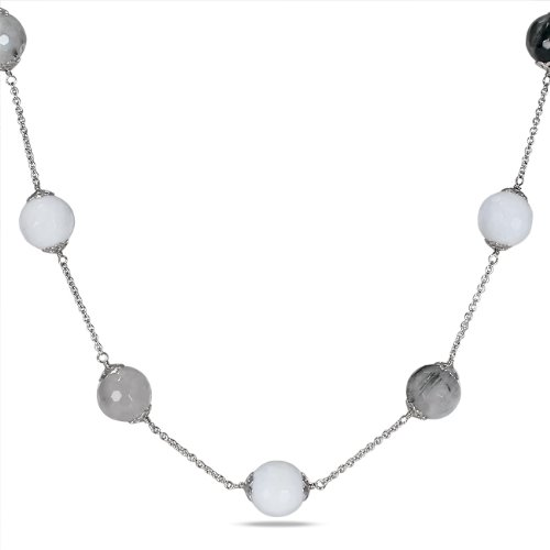 Sterling Silver White Agate and Black Rutilated Quartz Endless Necklace With Chain (32 In)
