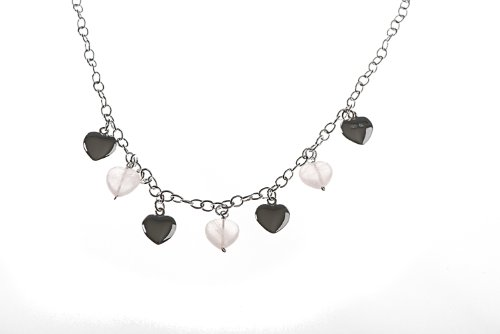 Silver 16 Inches 7 Heart and Rose Quartz Necklet