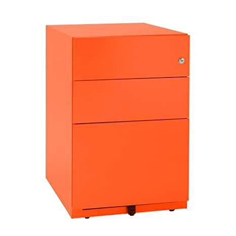 Bisley NWA52M7SSF 64 cm Note Pedestal 2 Stationery and 1 Filing Drawer - Mandarin