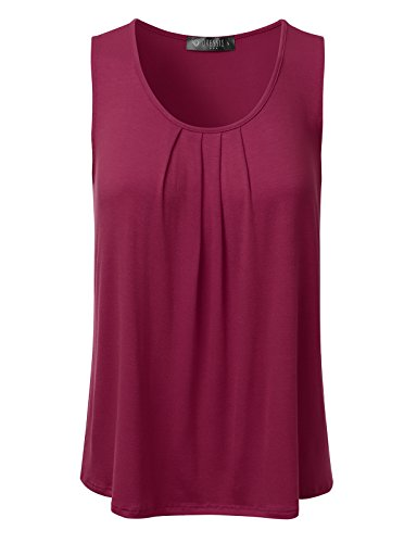 DRESSIS Women's Basic Soft Pleated Scoop Neck Sleeveless Loose Fit Tank Top BURGUNDY 3XL (Burgundy Tank Top Women compare prices)