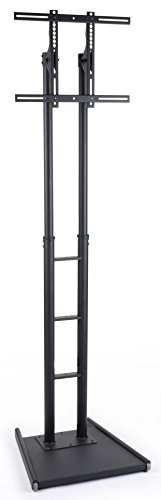 "Lcd Tv Stands With Double Post Design Fit 32"" To 84""+ Monitors, Weighted Base For Stability, Height Adjustable, Steel (Black)"