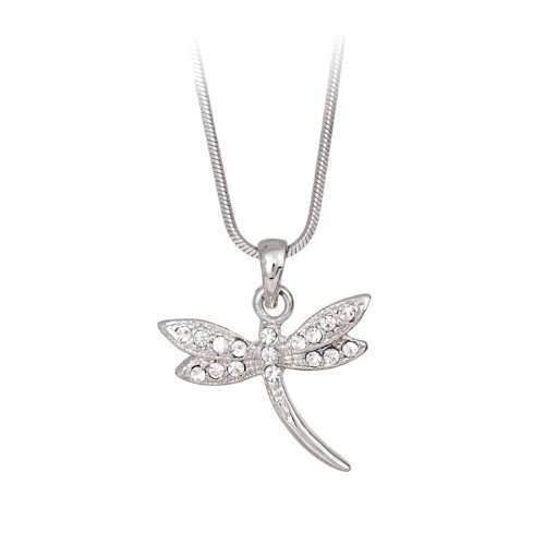 Clear Crystal Dragonfly Pendant Necklace Fashion Jewelry