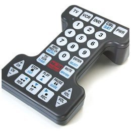 "Handicapped Remote Control replaces up to 4 standard remotes and can be used with any combination of TVs, VCRs and cable boxes. Touch-sensitive lighted keypad for operation in the dark. Large ¾"" buttons and bold easy-to-read characters make remote simple to use. Features code retention for easy programming, will not lose information during a battery change. Extra large frame is difficult to misplace and easy to grasp. 5½""W x 8½""L x 2½""D. Latex free."