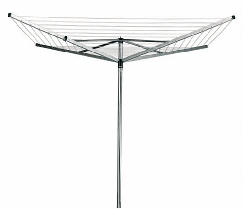 Brabantia Top Spinner Rotary Dryer with 45mm Metal Soil Spear, 50m, 4 arms, Metallic Grey