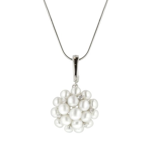 Sterling Silver Freshwater Cultured Pearl and Cubic Zirconia Floral Pendant Necklace , 18