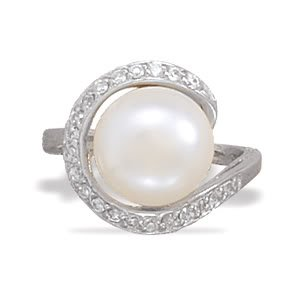 Sterling Silver Rhodium Plated Ring with Cultured Freshwater Pearl Wrapped in CZs / Size 8