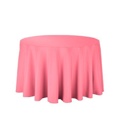 Linentablecloth Round Polyester Tablecloth, 108-Inch, Coral front-458106